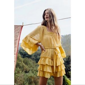 Free People Yellow Greta Mini Ruffle Dress